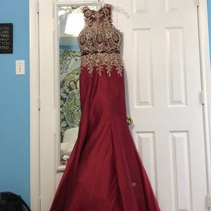 Red mermaid prom dress with gold sequin detail